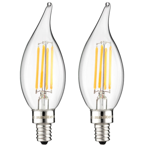 Sunlite LED Vintage Chandelier 4W (40W Equivalent) Light Bulb Candelabra (E12) Base, Warm White, 2-Pack