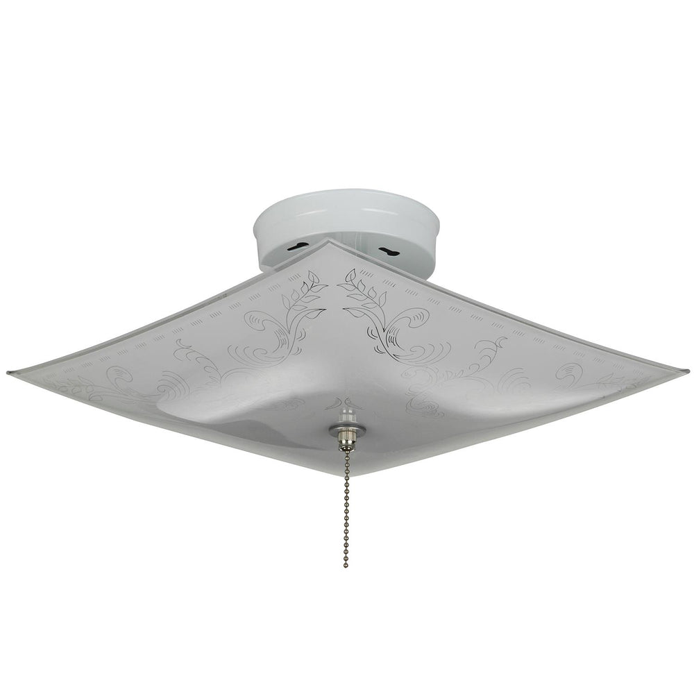 "Sunlite 12"" Square Glass Style Ceiling Fixture, White Finish, White Glass"