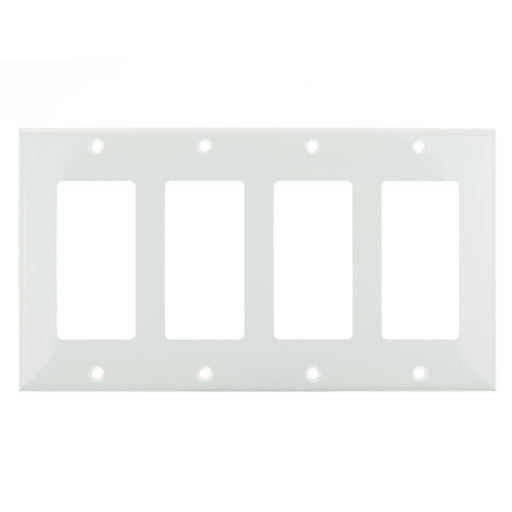 Sunlite E304/W 4 Gang Decorative Switch and Receptacle Plate, White