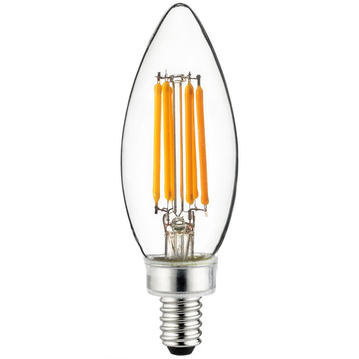 Sunlite 81102 LED Filament B11 Torpedo Tip Chandelier 5-Watt (60 Watt Equivalent) Clear Dimmable Light Bulb, 3000K - Warm White