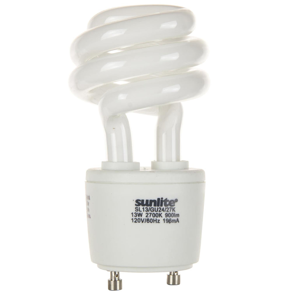 Sunlite 13 Watt GU24 Sprial, GU24 Base, Warm White