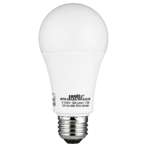Sunlite A19/LED/15W/D/E/30K Led 15W (100W Equivalent) A19 Light Bulbs, 3000K Warm White Light, Medium (E26) Base