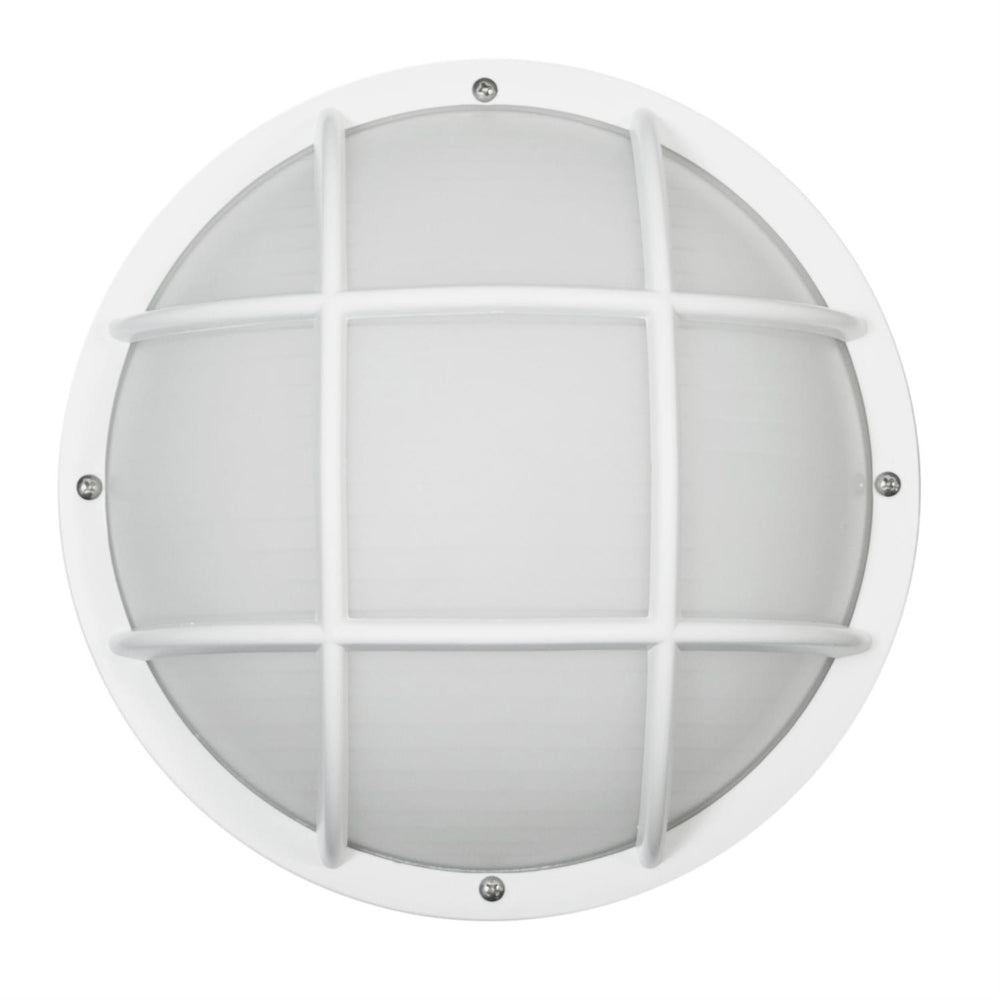 Decorative Outdoor LED Eurostyle Grid Fixture, White Finish, Frosted Lens