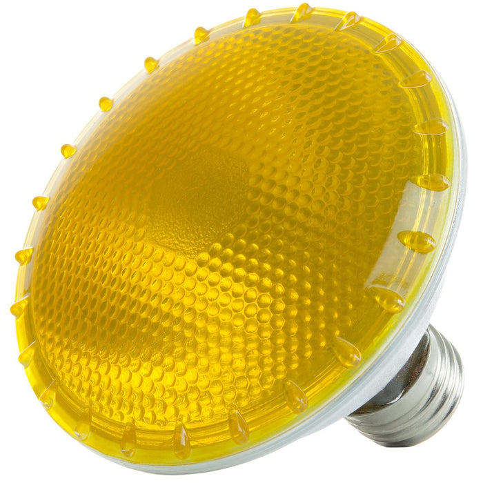 Sunlite 75 Watt, 30° Narrow Flood, Colored PAR30 Reflector, Medium Base, Yellow, Halogen