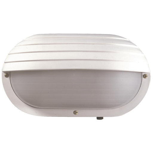 Sunlite Decorative Outdoor Eurostyle Oblong Hooded Fixture, White Finish, Frosted Lens