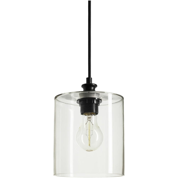 Sunlite Cylinder Glass Collection Pendant Vintage Antique Style Fixture, Clear Glass