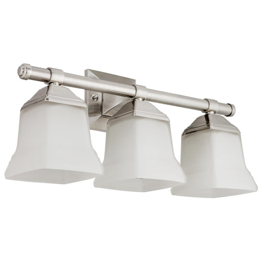 Sunlite 46063-SU Vanity Fixture Three Light 20 Inch, Bell Shaped Frosted Glass, Brushed Nickel Finish