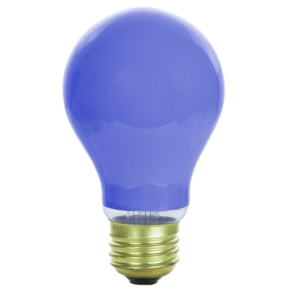 Sunlite 60 Watt A19 Colored, Medium Base, Ceramic Blue
