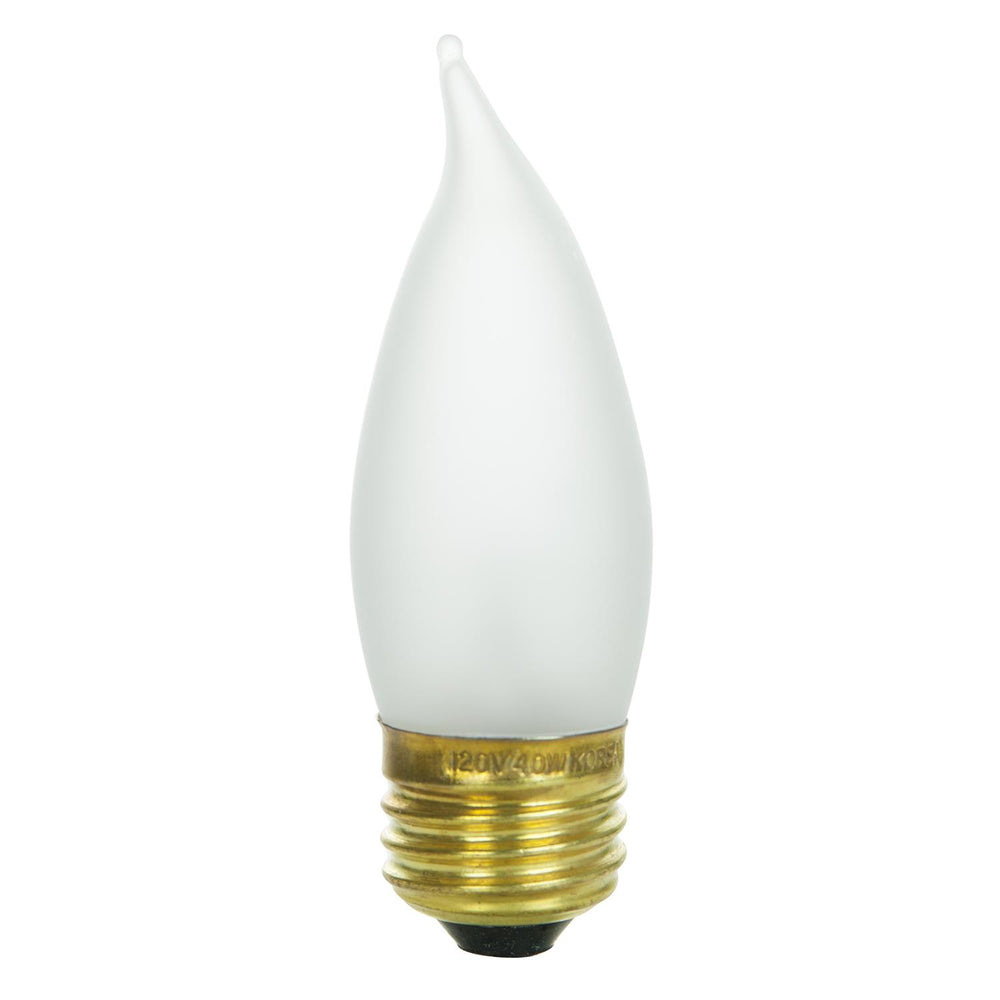 Sunlite 40 Watt Flame Tip Chandelier, Medium Base, Frost