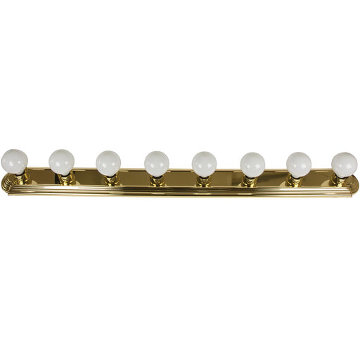 Sunlite 8 Lamp Vanity Globe Style Fixture, Polished Brass Finish