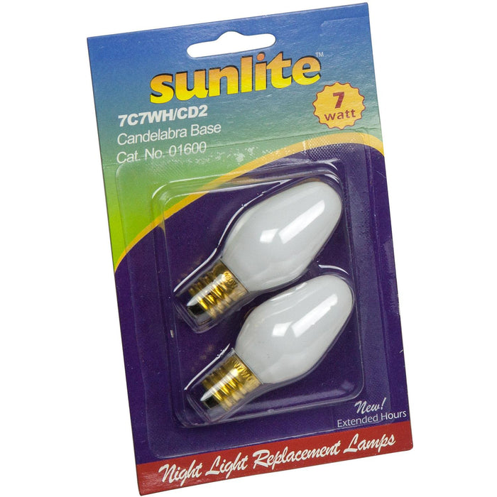 2 Pack Sunlite 7 Watt C7 Night Light, Candelabra Base, White