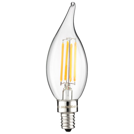 Sunlite LED Vintage Chandelier 4W (40W Equivalent) Light Bulb Candelabra (E12) Base, Warm White