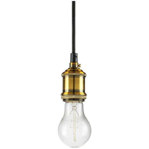 "Sunlite Hanging Pendant Vintage Style Fixture, Antique Brass Socket Finish, 42"" braided cord"