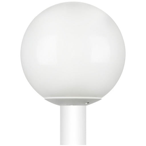 "Sunlite 12"" Decorative Outdoor Neckless Globe Polycarbonate Post Fixture, White Finish, White Lens, 3"" Post Mount (not included)"