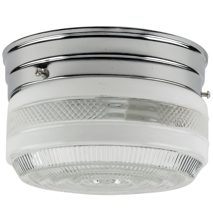 "Sunlite 6"" Drum Ceiling Fixture, Chrome Finish, Semi-Frosted Glass"