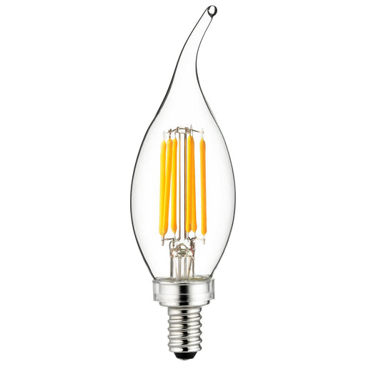 Sunlite 80662-SU LED Filament Chandelier Light Bulb with Flame Tip, 5 Watts  (60W Equivalent), Candelabra Base (E12), Clear, Dimmable, UL Listed, 27K - Warm White 1 Pack