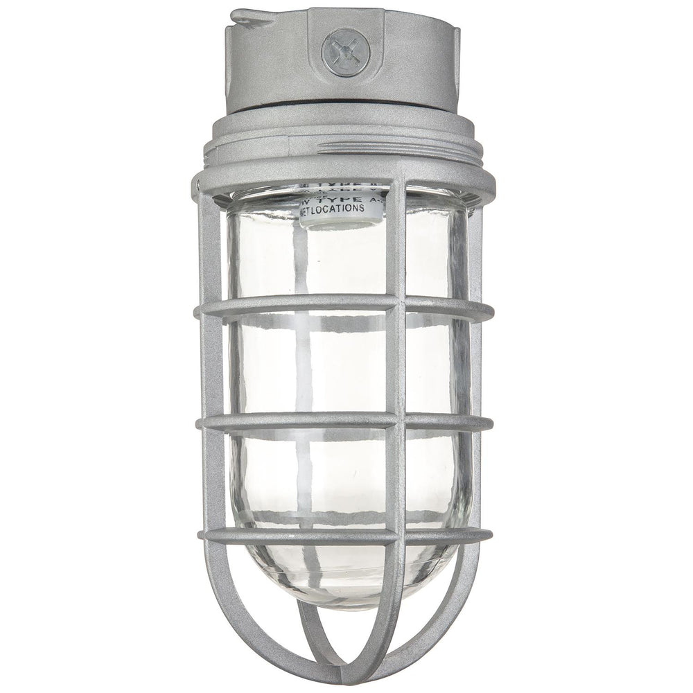 Sunlite Ceiling Mount Vaporproof Industrial Fixture, Metallic Finish, Clear Glass, 1/2 Piping