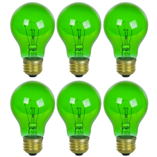 6 Pack of Sunlite 25 watt Transparent Green Colored Incandescent Light Bulb - Parties, Decorative, and Holiday 2,000 Average Life Hours