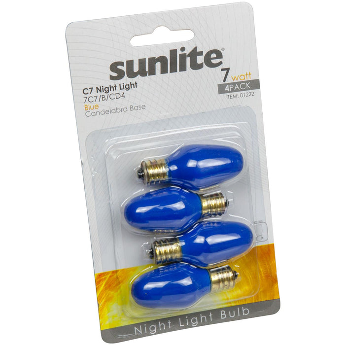 4 Pack Sunlite 7C7/B/CD4 7 Watt C7 Lamp Candelabra (E12) Base Blue