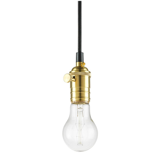 "Sunlite Hanging Pendant Vintage Style Fixture, Brass Socket Finish, 42"" braided cord"