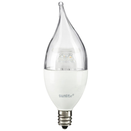 Sunlite LED Flame Tip Chandelier 7W (60W Equivalent) Light Bulbs, Candelabra (E12) Base, 2700K Warm White