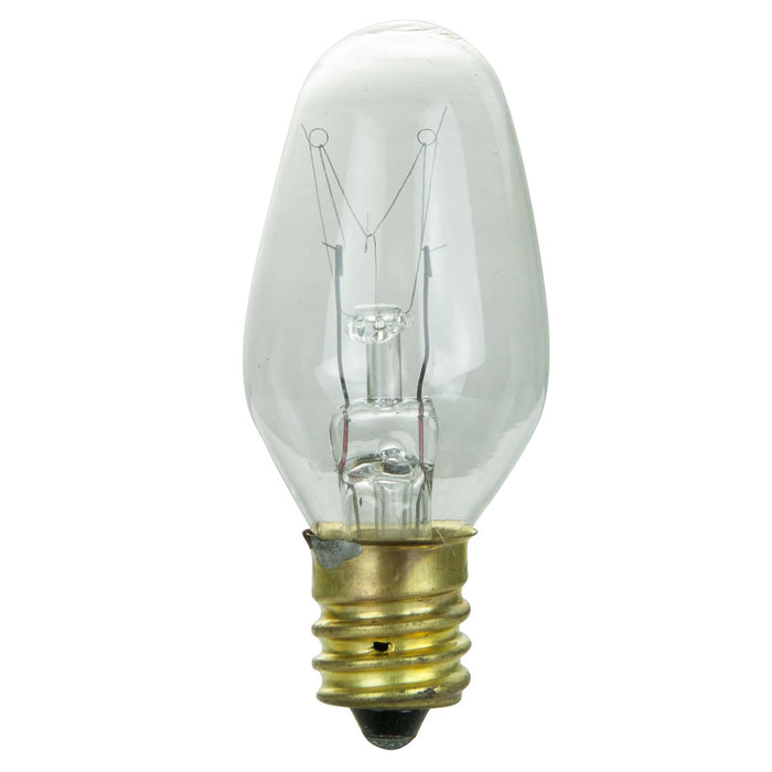 25 Pack Sunlite 7 Watt C7 Night Light, Candelabra Base, Clear