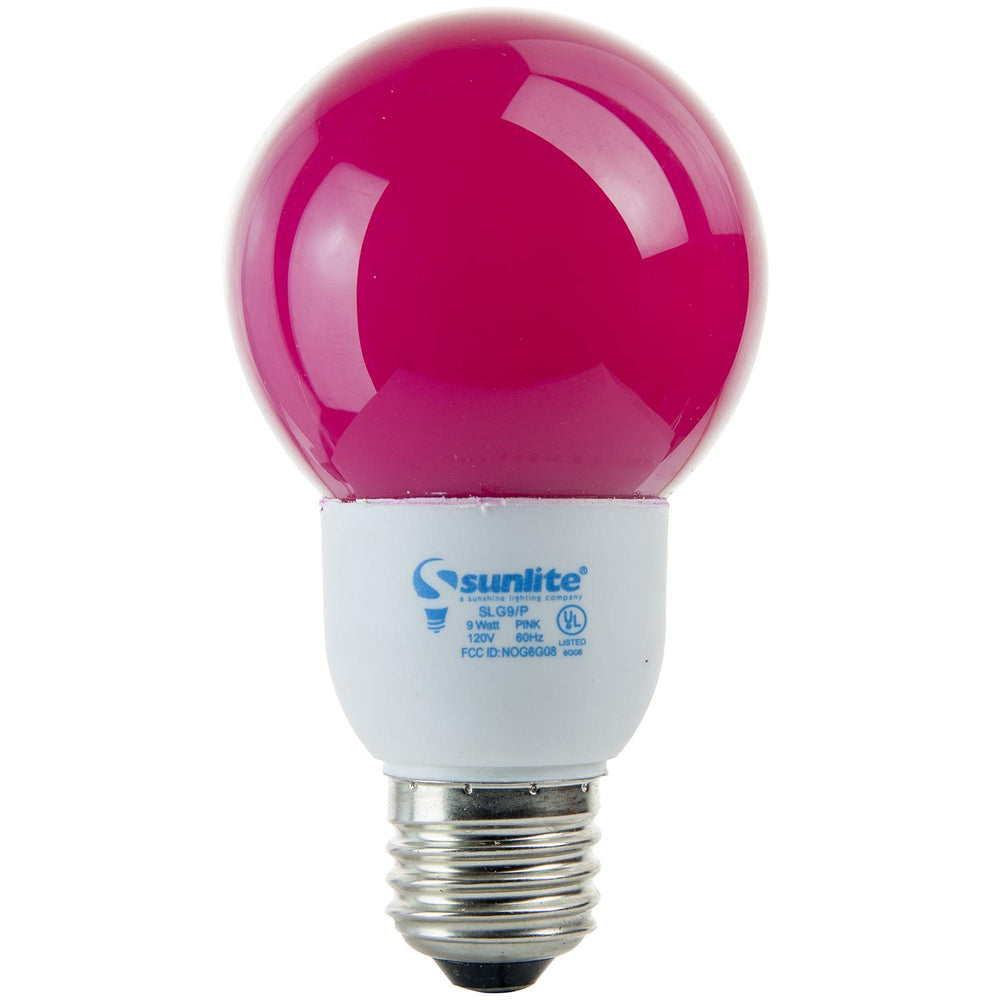 Sunlite 9 Watt Colored Globe, Medium Base, Pink