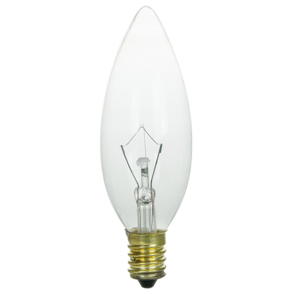 Sunlite 25 Watt Torpedo Tip Chandelier , European Base, Clear