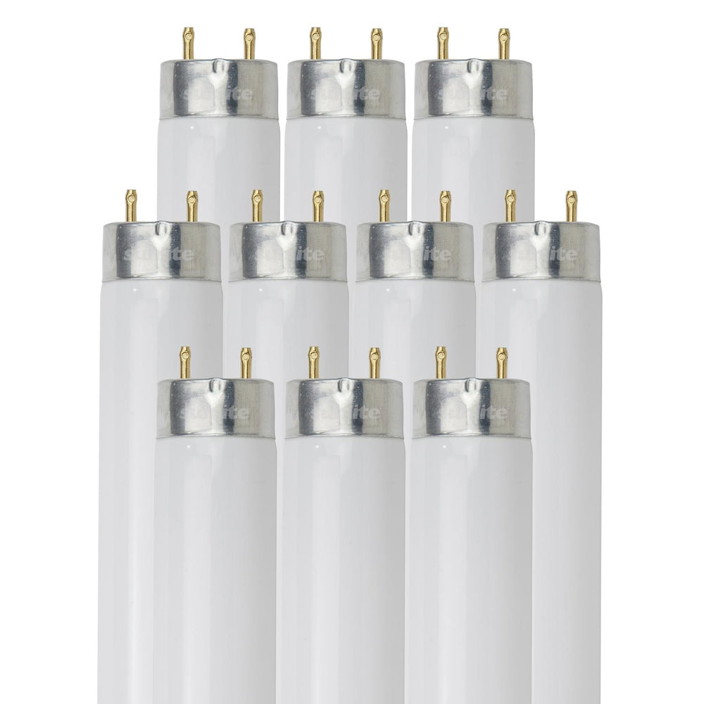 Sunlite F32T8/SP841/10PK 32 Watt T8 High Performance Straight Tube Medium Bi-Pin (G13) Base, 4100K Cool White, 10 Pack