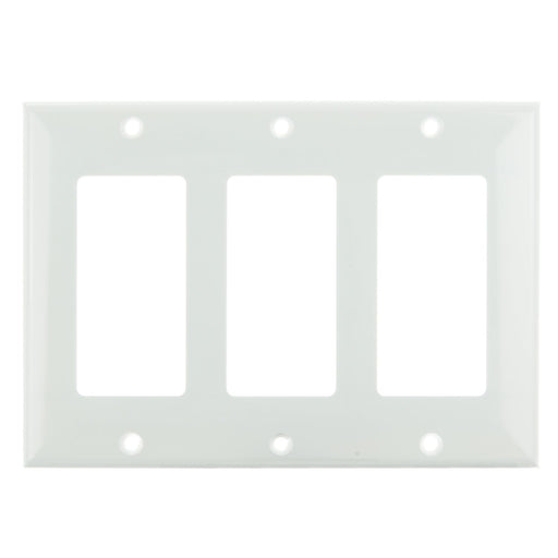 Sunlite E303/W 3 Gang Decorative Switch and Receptacle Plate, White
