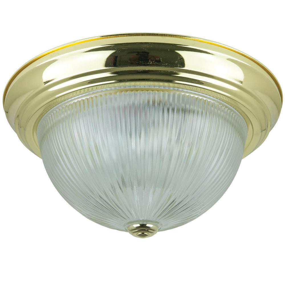 "Sunlite 13"" Energy Saving Dome Fixture, Polished Brass Finish, Clear Glass"