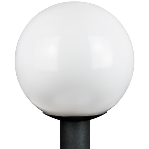 "Sunlite 12"" Decorative Outdoor Neckless Globe Polycarbonate Post Fixture, Black Finish, White Lens, 3"" Post Mount (not included)"
