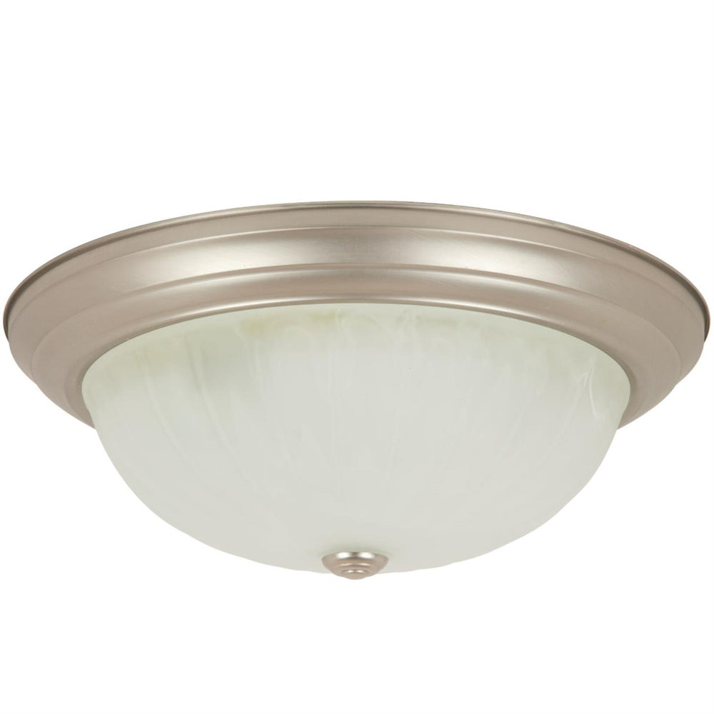 "Sunlite 13"" Decorative Dome Ceiling Fixture, Brushed Nickel Finish, Alabaster Glass"