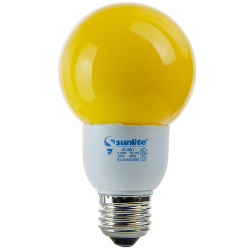 Sunlite 9 Watt Colored Globe, Medium Base, Yellow