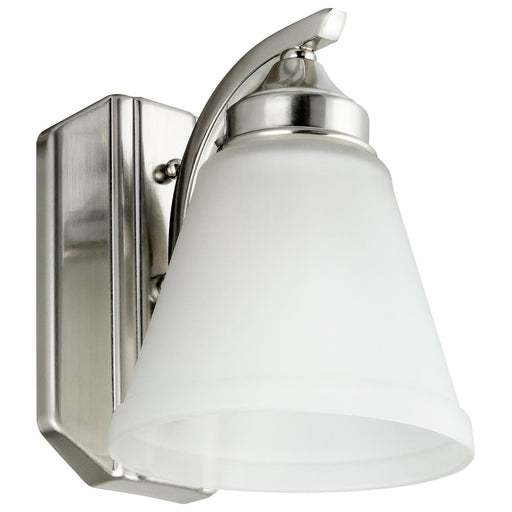 Sunlite 45055-SU Vanity Fixture One Light 8 Inch, Bell Shaped Frosted Glass , Brushed Nickel Finish