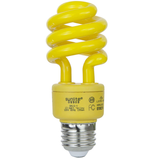 Sunlite SM13/Y 13 Watt T3 Spiral Lamp Medium (E26) Base Yellow