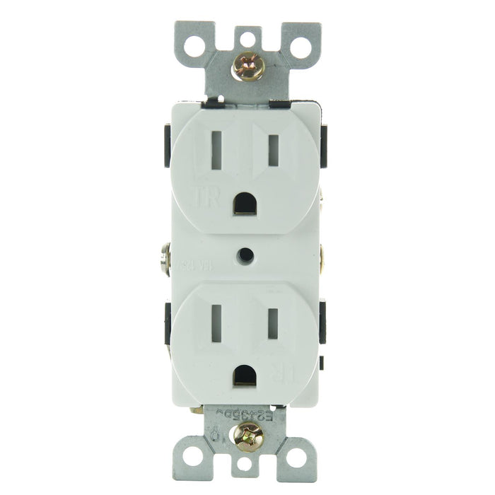 Sunlite E556/WH 15A Tamper Resistant Deplex Receptacle, White