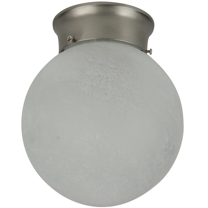 "Sunlite 8"" Decorative Globe Style Ceiling Fixture, Brush Nickel Finish, Alabaster Glass"