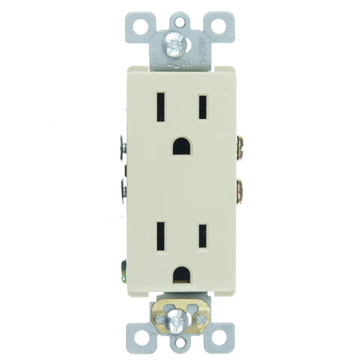 Sunlite E526 15A Decorative Duplex Receptacle, Ivory