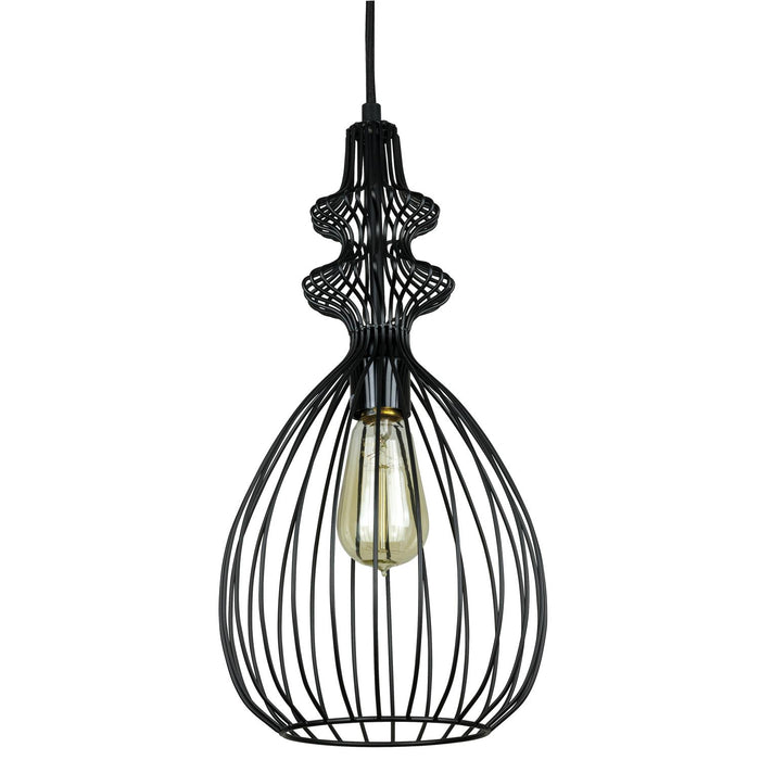 Sunlite Oval Cage Pendant Vintage Antique Style Fixture, Matte Black Finish