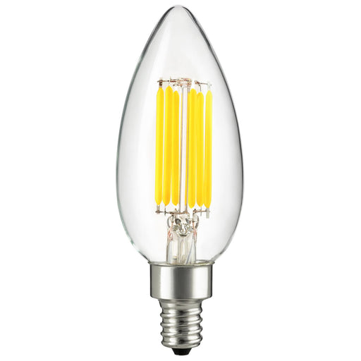 Sunlite CTC/LED/AQ/6W/E12/D/CL/50K LED 6W (60W Equivalent) Clear Filament Torpedo Tip CTC Light Bulbs, 5000K Super White, Candelabra (E12) Base