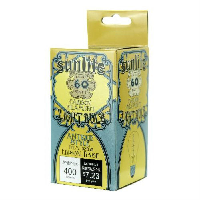 Sunlite 60 Watt Antique Victoria Style A19, Medium Base, Clear