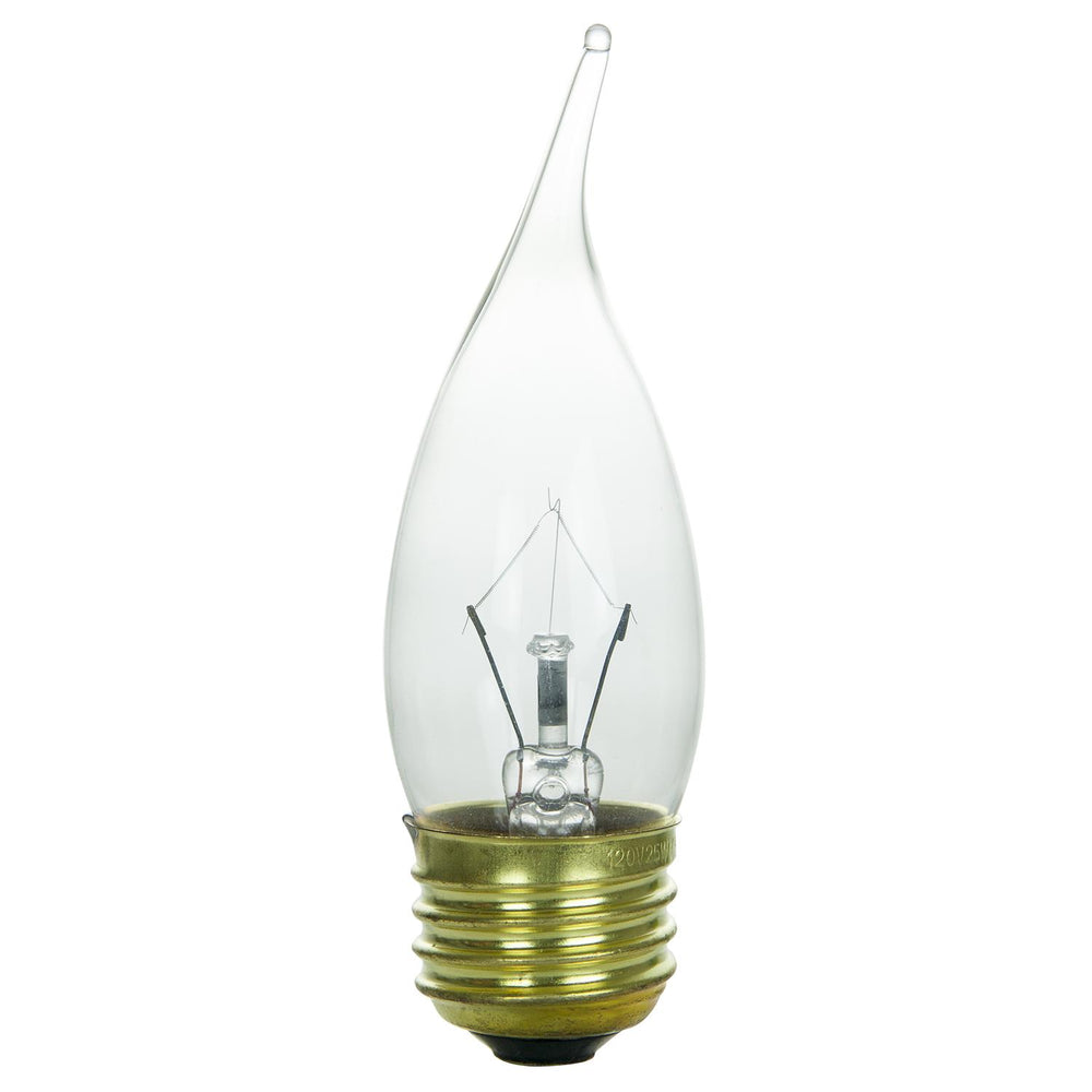 Sunlite 40 Watt Flame Tip Chandelier, Medium Base, Clear