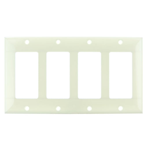 Sunlite E304/A 4 Gang Decorative Switch and Receptacle Plate, Almond