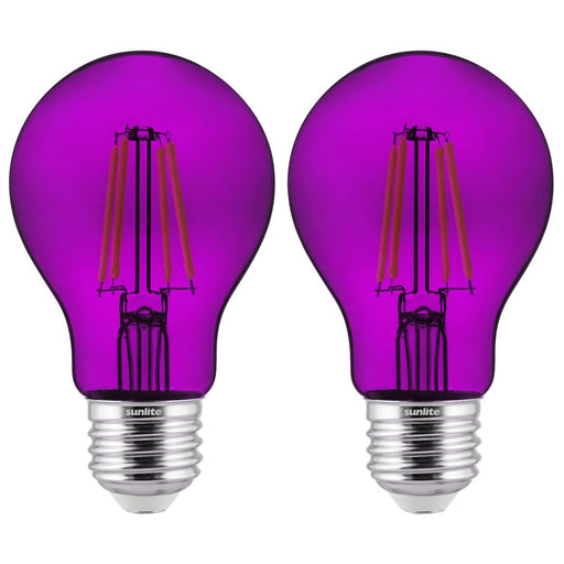 2-Pack Sunlite LED Transparent Purple A19 Filament Bulbs, 4.5 Watts, Dimmable, UL Listed