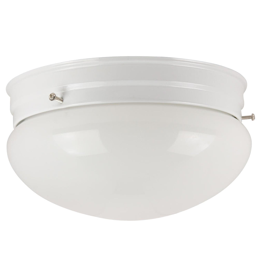 "Sunlite 8"" Decorative Mushroom Style Ceiling Fixture, White Finish, White Glass"