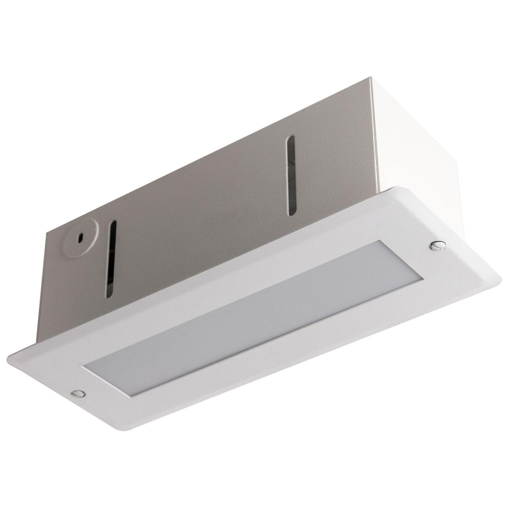Fluorescent Steplite Fixture, White Finish, Frosted Lens