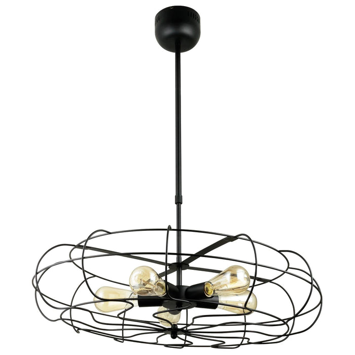 Sunlite Fan Pendant Vintage Antique Style Fixture, Matte Black Finish