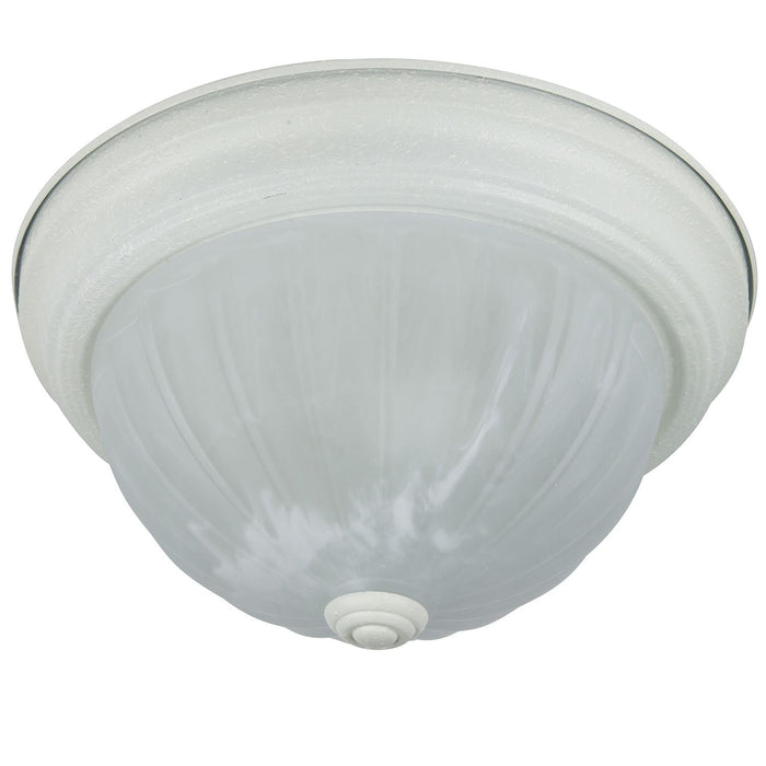 "Sunlite 11"" Decorative Dome Ceiling Fixture, Texture White Finish, Alabaster Glass"