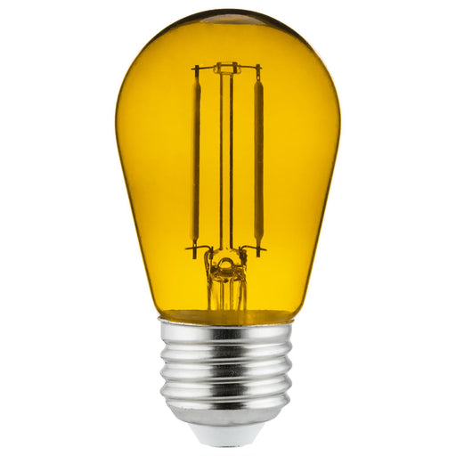 Sunlite LED Transparent Yellow Colored S14 Medium Base (E26) Bulb - Parties, Decorative, and Holiday 15,000 Hours Average Life